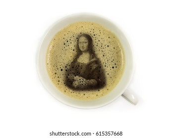 Mona lisa in coffee froth