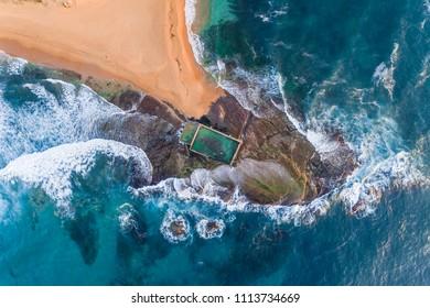 Mona Vale Australian Rock pool at sea side, Sydney, Northern Beaches