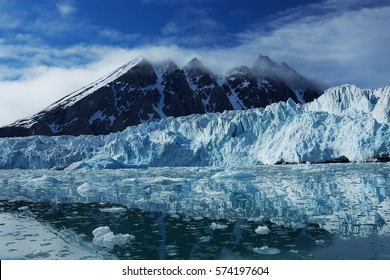 Monacbreen glacier stretches for nearly 5 miles along Spitsbergen in the Svalbard Archipelago.