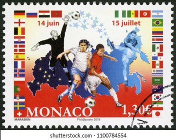MONACO - APRIL 10, 2018: A stamp printed in Monaco shows footballers, 2018 Football World Cup Russia, 2018