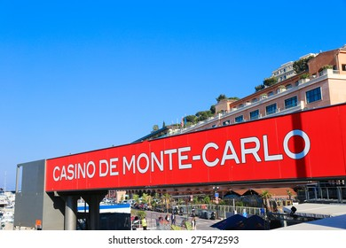 MONACO - APRIL 13, 2015: Casino de Monte-Carlo ad in Monaco. The Monaco Grand Prix is a Formula One motor race held on Circuit de Monaco, a narrow course laid out in the streets of Monaco.