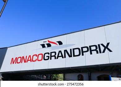 MONACO - APRIL 13, 2015: Monaco Grand Prix logo on a pedestrian bridge. The Monaco Grand Prix is a Formula One motor race held on Circuit de Monaco, a narrow course laid out in the streets of Monaco.