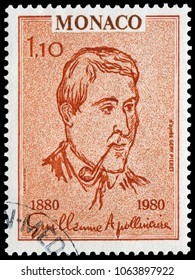 Monaco, Monaco - April 28, 1980: Guillaume Apollinaire(1880-1918), French poet, playwright, short story writer, novelist, and art critic of Polish descent. Stamp issued by Monaco Post in 1980.