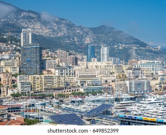 MONACO - APRIL 8 : Cityscape of skyscraper buildings and coastline in Monaco, Monaco, on April 8, 2017. Monaco is the second smallest and the most densely populated country in the world.