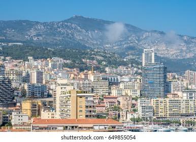 MONACO - APRIL 8 : Cityscape of skyscraper buildings in Monaco city, Monaco, on April 8, 2017.