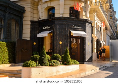 MONACO - AUG 13, 2017: Cartier shop in Monaco, a country on the French Riviera in Western Europe