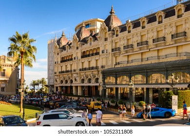 MONACO - AUG 13, 2017: Hotel de Paris in Monaco, a country on the French Riviera in Western Europe