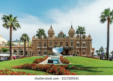 MONACO – AUGUST 12,2019: Casino of Monte Carlo in  Monaco (The Principality of Monaco),  a sovereign city-state on the French Riviera, the second-smallest country in the world after the Vatican.