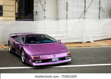 Monaco - August 2017: Lamborghini Diablo SE30 classic supercar parked in central Monaco. Purple sports car can be rarely seen on the roads.