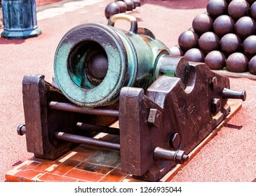 Monaco - August 6 2018: Old cannons at the Prince's Palace of Monaco. Monaco is a sovereign city-state and microstate, located on the French Riviera in Western Europe. - Image