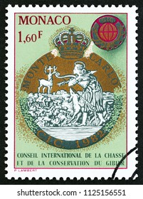 MONACO - CIRCA 1982: A stamp printed in Monaco issued for the 29th Meeting of International Hunting Council, Monte Carlo shows emblem, circa 1982.