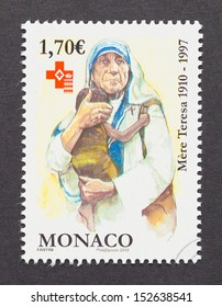 MONACO - CIRCA 2010: a postage stamp printed in Monaco showing an image of Nobel Peace Prize winner Mother Teresa, circa 2010.