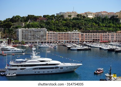 MONACO, MONACO - CIRCA JULY 2015 Big white yacht in the marina