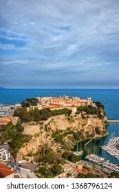 Monaco City (Monaco-Ville) on a headland into the Mediterranean Sea