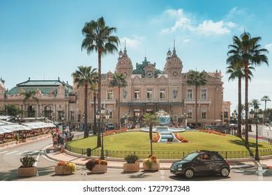 Monaco City, Monaco, September 14, 2018:  Mirror in the park in front of the Monte Carlo Casino