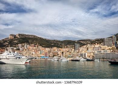 Monaco city skyline sea view, principality on France's Mediterranean coastline, southern Europe