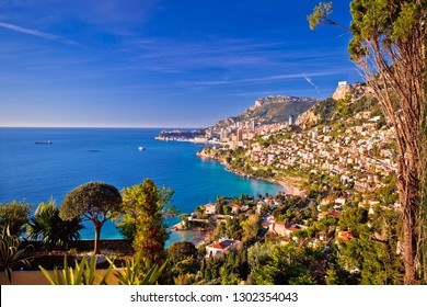 Monaco cityscape and coastline colorful nature of Cote d'Azur view, Principality of Monaco