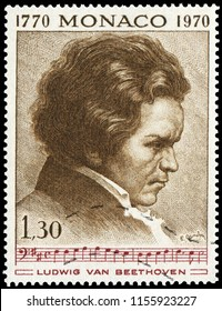 Monaco, Monaco - Dec. 15, 1970: Ludwig van Beethoven (1770-1827), famous German composer and pianist. Stamp issued by Monaco Post in 1970.