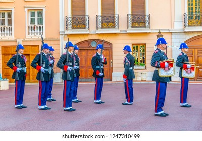 MONACO, MONACO, DECEMBER 29, 2017: Change of royal guard in front of the prince's palace in monaco