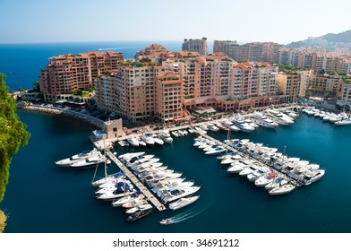 Monaco district of Fontvieille, with its harbor and wealthy buildings built on a platform
