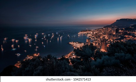 Monaco at dusk on the French Riviera