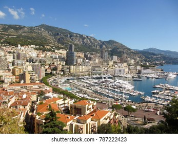 Monaco, Europe - August 2013: Wide angle landscape view of the harbor