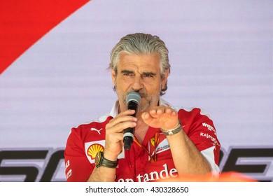 Monaco, France, May 27th 2016: Maurizio Arrivabene, team principal of Ferrari Formula One team, interviewed during the Montecarlo Gran Prix week end in Monaco.