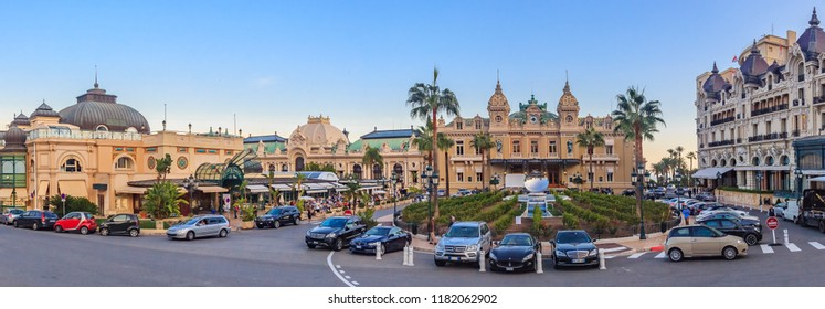 Monaco, France - October 15, 2013: Panoramic view of Place du Casino in Monte Carlo Monaco with Grand Casino and Hotel de Paris with the mirror fountain out front