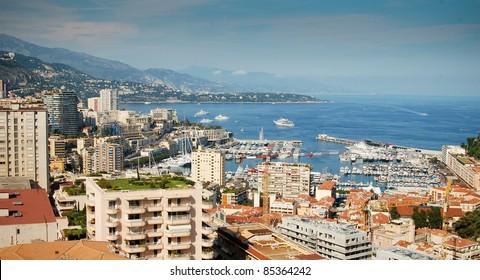 Monaco harbour view. Monte Carlo.