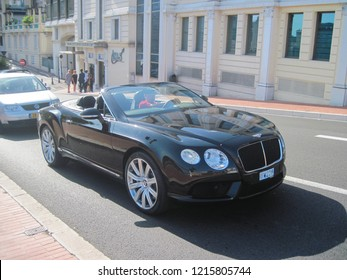 MONACO - JULY 21, 2016: Monegasque cityscape with bentley in summer time.