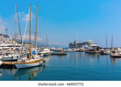Monaco, Monaco - July 30, 2016: boats in the port of Monaco. Monaco is the 2nd smallest and the most densely populated country in the world, popular by the rich because of the tax policy