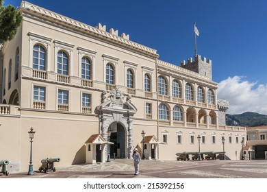 MONACO - JULY 8, 2014: Built in 1191 as a Genoese fortress, Monaco Prince's Palace is official residence of Monaco Prince. Principality of Monaco is a sovereign city state, located on French Riviera.