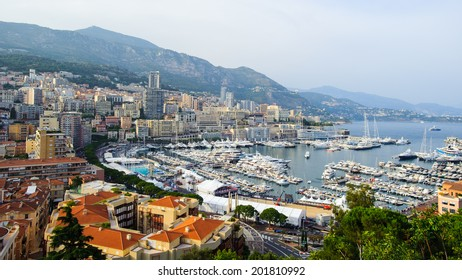 MONACO - JUN 24, 2014: Beautiful panoramic view of Monaco. Principality of Monaco is one of the richest  and the second smallest country in the world