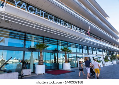 Monaco - June 24, 2018: Yacht Club de Monaco (YCM) clubhouse on Quai Louis II. Founded in 1953 by Prince Rainier, the Yacht Club de Monaco brings together more than 2000 members from 66 nationalities