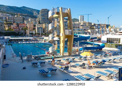 Monaco - June 24,2016: The Rainier III Nautical Stadium, municipal sports complex in La Condamine, Monaco. Built in 1972. Consists of a heated saltwater swimming pool, diving platforms and a 45m slide