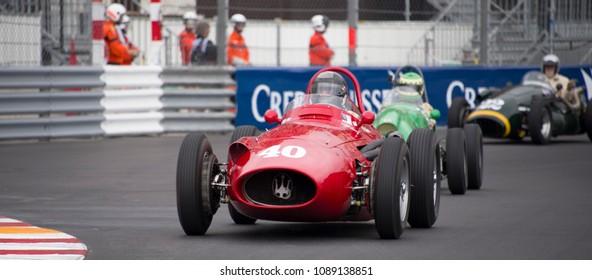 Monaco, May 12, 2018 - The 1954 Maserati 250F with driver Christian Dumolin leads a line of cars at the Monaco Historic Grand Prix.