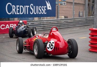 Monaco May 12, 2018 - The 1960 Ferrari 246 Dino of Alex Birkenstock closes in on a slower car at the Monaco Historic Grand Prix.