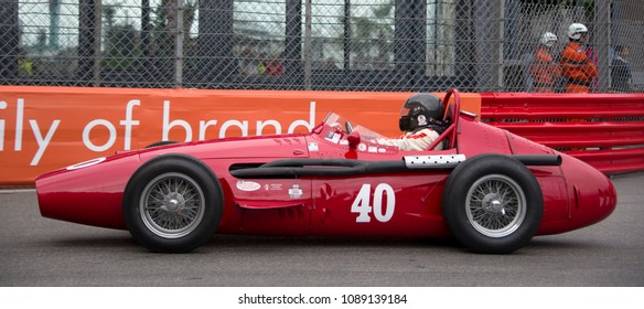 Monaco, May 12, 2018 - Christian Dumolin drives his vintage 1954 Maserati 250F in the Monaco Histric Grand Prix.