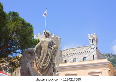 Monaco, Monaco-Ville - June 22, 2018: Monument to the Tribute to Colonies Etrages near the palace of Prince Monaco