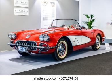 Monaco, Monte Carlo 19. April Classic red and white 1960 Chevrolet Corvette C1 convertible at Top Marques Grimaldi Forum car show