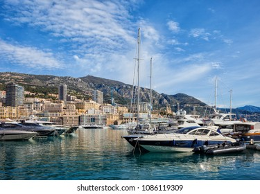 Monaco Monte Carlo, city skyline and yachts in Port Hercules