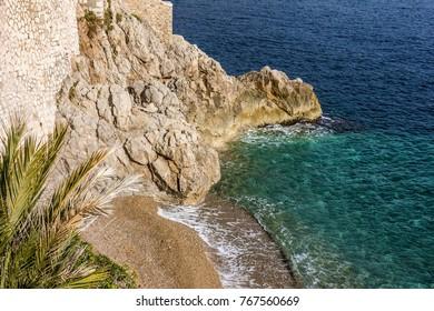 Monaco and Monte Carlo principality. Sea resort sand beach