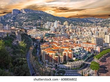 Monaco and Monte Carlo principality sunset view