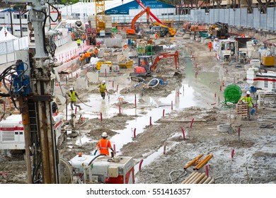 Monaco, Monte Carlo - September 16, 2016: Builder walking through the construction site. Industrial concept