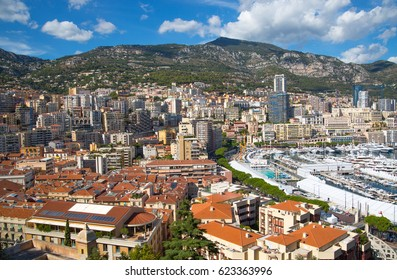 Monaco, Monte Carlo - September 16, 2016: City of Monte Carlo view, residential buildings raised on mountains.