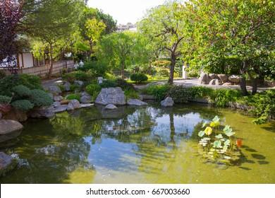 Monaco, Monte Carlo - September 17, 2016: Jardin Japonais, Japanese Garden municipal park on the Avenue Princess Grace. Designed by Yasuo Beppu