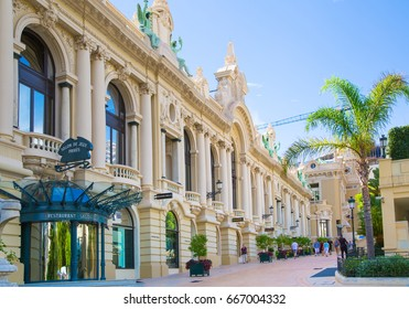 Monaco, Monte Carlo - September 17, 2016: The Grand casino Monte Carlo, gambling and entertainment complex in Cote de Azul and walking people