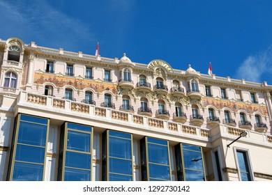 Monaco / Monte-Carlo- 02.09.2018: Facade of Hotel Hermitage