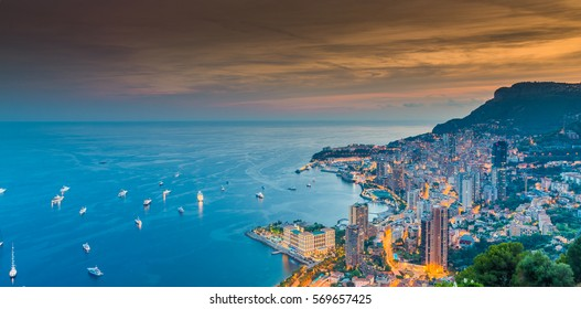 Monaco, Monte-Carlo, 26 September 2016: Aerial panoramic view the night city from hotel Vista, night illumination of yachts, streets, buildings, long exposure, nobody, night lights