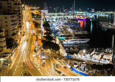 Monaco, Monte-Carlo 27.09.2017: Exhibition boat yacht show in Monaco, MYS, the largest exhibition, the richest people from around the world, cityscape, tenders, megayacht, night lights, traffic